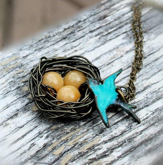 Mother's day gift jewelry, Bird Nest Necklace, Blue Bird, Yellow Agate Eggs, Groundmon bird nest