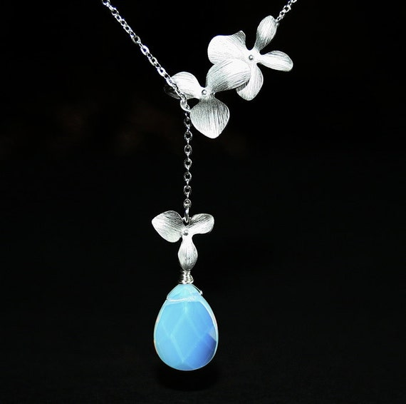 Opalite Moonstone with Silver Orchid Necklace, Lariat Necklace,  Orchid Necklace, Flower Necklace, Moonstone Necklace, Sterling Silver, Gift