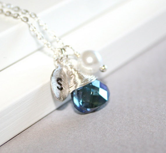 Personalized Sapphire Necklace, Custom Initial, September Birthstone Necklace, September Birthday Jewelry, Sapphire Pendant, Sterling Silver