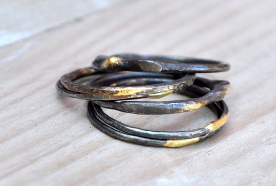 oxidized sterling silver stackable ring with 14k solder