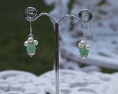 Simple Becky Earrings in Jade and Pearl