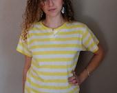 80's yellow\/white stripe henley-S\/M