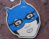 Wooden Enid Ghost World Brooch Handmade Katherine and Punky