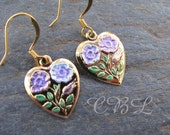Hand Painted Gold Floral Heart Earrings