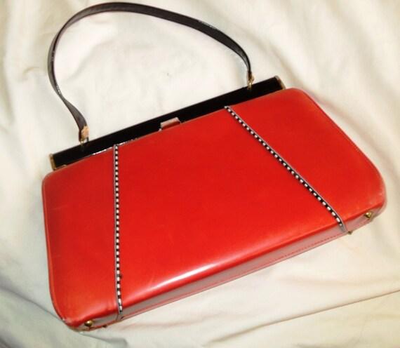 60s Vintage Orange-Red Purse