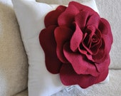 Accent Pillow - Decorative Pillow - Ruby Red Rose on White Throw Pillow 12x12
