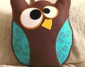 Hooter The Owl Pillow Blue and Brown Designer Limited Quantity