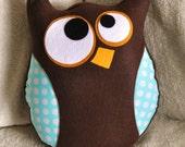 Owl Pillow Hooter the Owl Plush Pillow Aqua Polka Dot