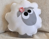 Nursery Decor Count the Sheep Plush Pillow -Gray-