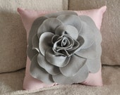Pillows - Light Grey Rose on Light Pink Pillow 14x14