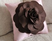 Chocolate Brown Rose on Light Pink Pillow
