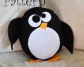 Penguin Plush PDF- Hobble the Penguin Pillow Tutorial Printable Pattern DIY How To