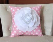 Rose Pillow White on Pink with White Polka Dot Pillow 14x14 Flower Pillow