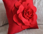 Throw Pillow Red Rose on Red Pillow