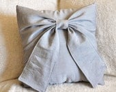 Gray Bow Pillow Decorative Throw Bow 14 x 14 Pillow