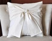 Cream Bow Pillow -Decorative Pillow-