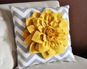 Mellow Yellow Dahlia on Gray and White Zigzag Pillow -Chevron Pillow- 16x16