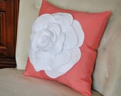 White Rose on Coral Pillow -Coral Pink- Red Orange Salmon Linen- Flower Pillow- 16x16 Extra Large Rose