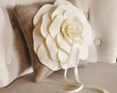 Burlap Ring Pillow -Rustic Wedding- Ivory Rose on Burlap Pillow Rustic Ring Bearer PIllow-