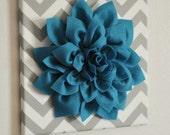 "Wall Flower - Dark Turquoise Dahlia on Gray and White Chevron 12 x12"" Canvas Wall Art- 3D Felt Flower"