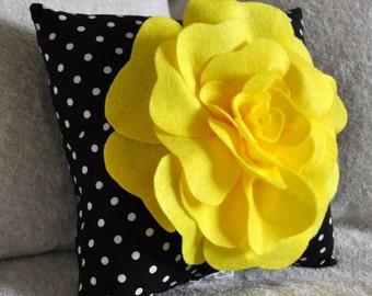 Yellow Black and White Polka Dot Flower Pillow