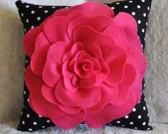 Hot Pink Rose on Black with White Polka Dot Pillow size 14x14