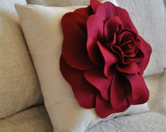 Rose Applique Ruby Red Rose on Cream Pillow 14x14