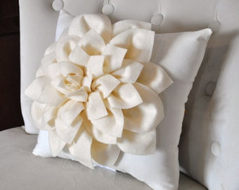 Ivory Dahlia Felt Flower on Ivory Pillow -Pick your Colors- Mum Flower Pillow 16 x 16