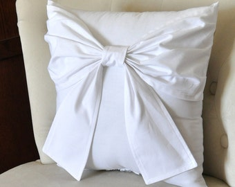 White Big Bow Pillow 16 x 16 Throw Pillow