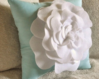 Blue Decorative Pillow Light Aqua Pillow with White Rose 14x14