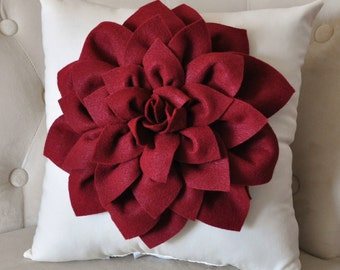 Decorative Pillow -Ruby Red Dahlia on Cream Pillow -