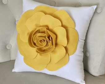 Mellow Yellow Rose on White Pillow 16x16 with Large Rose