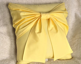 Yellow Bow Pillow - Decorative Pillow