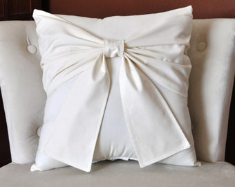 Cream Bow Pillow -Decorative Pillow-