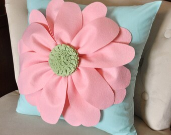 Daisy Felt Flower on Aqua Pillow  -NEW BEDBUGGS DESIGN -Pick your Colors-