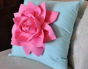 "Decorative Pillow Lotus Flower Throw Pillow  -Pink on Aqua - 14"" x 14"" -Water Lily Flower BEDBUGGS DESIGN"