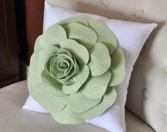 Pastel Green Rose on White Pillow Baby Nursery Decor 14x14