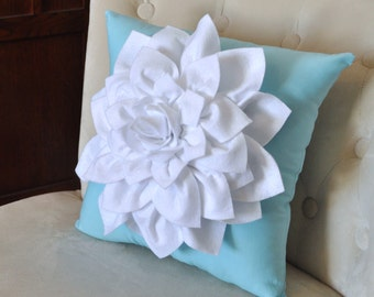 White Dahlia Felt Flower on Blue Pillow