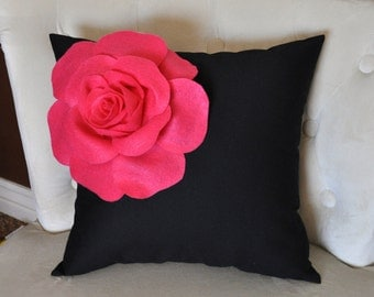 Hot Pink Corner Rose on Black Pillow 14 X 14