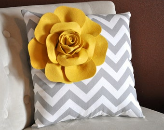 Mellow Yellow Corner Rose on Gray and White Zigzag Pillow 18 X 18 -Chevron Flower Pillow- Zig Zag Pillows
