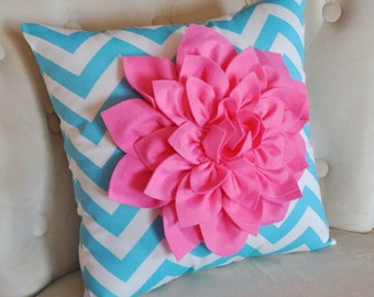 Pink Dahlia on Girly Blue and White Zigzag Pillow -Chevron Pillow-
