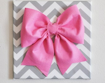 """Large Pink Bow on Gray and White Chevron 12 x12"""" Canvas Wall Art- Baby Nursery Wall Decor- Zig Zag"""