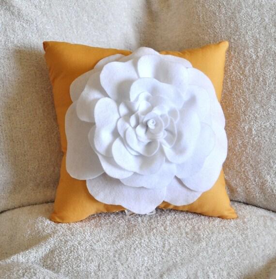 White Rose on Mustard Yellow Pillow