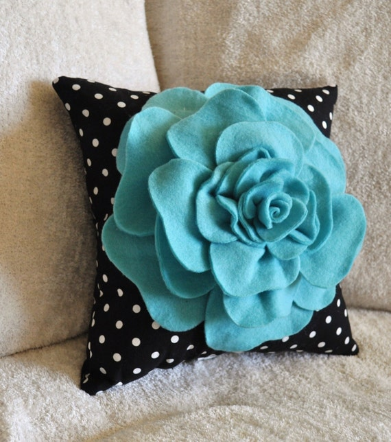 Turquoise Rose on Black with White Polka Dot Pillow