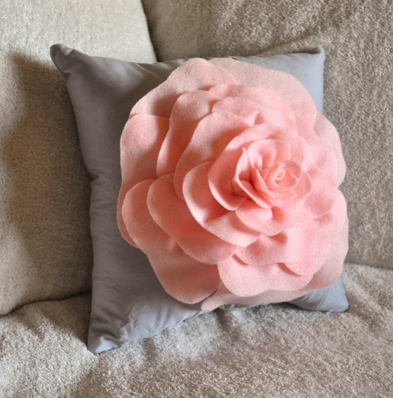 Light Pink Rose on Light Grey Pillow by bedbuggs on Etsy