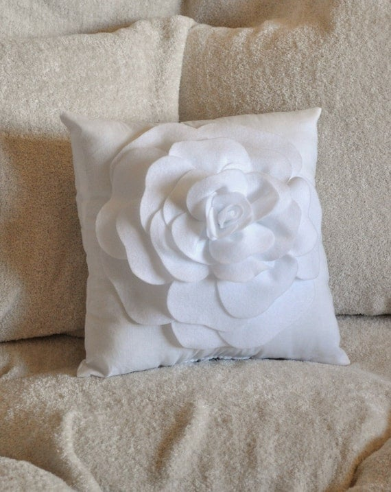 White Decorative Pillows For Bed : White Decorative Pillow White Rose Pillow 14 x 14 by bedbuggs