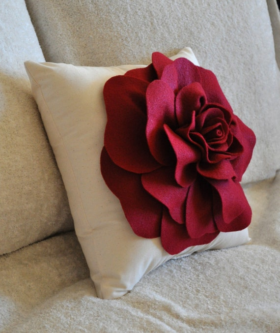 Decorative Rose Pillow Ruby Red Rose on Cream Pillow 16x16