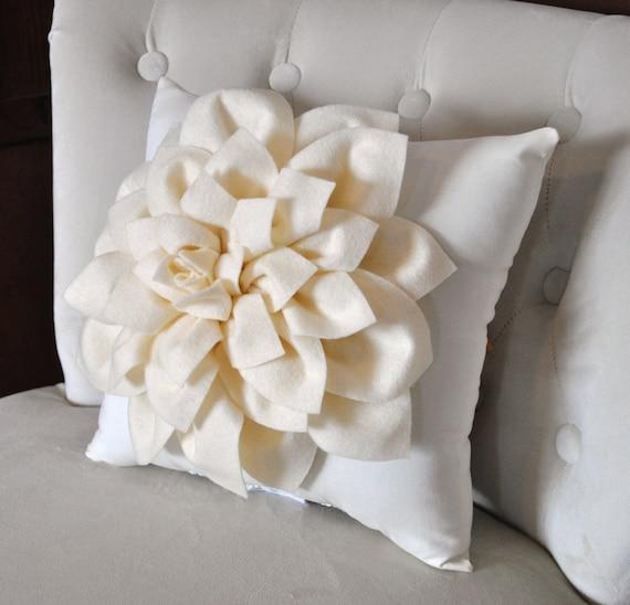 Ivory Dahlia Felt Flower on Ivory Pillow -Pick your Colors- Mum Flower Pillow