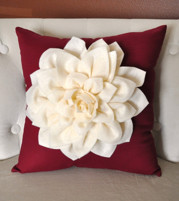 Decorative Pillows Flowers : Dahlia Felt Flower Holidays Decorative Pillow Ivory on ruby