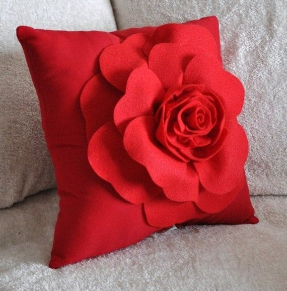 Items similar to Throw Pillow Red Rose on Red Pillow on Etsy